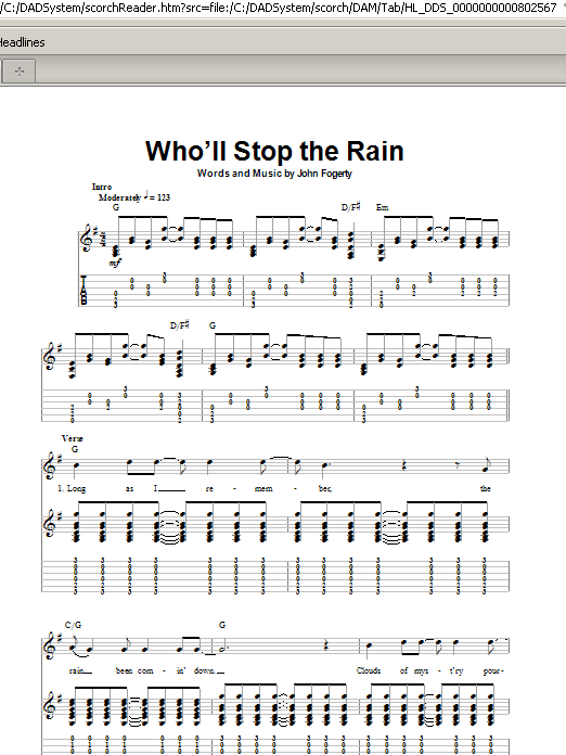 Creedence Clearwater Revival Wholl Stop The Rain Sheet Music