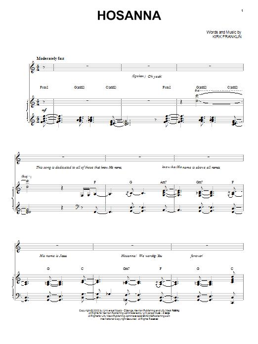 Kirk Franklin Hosanna Sheet Music Notes Chords Printable Pop
