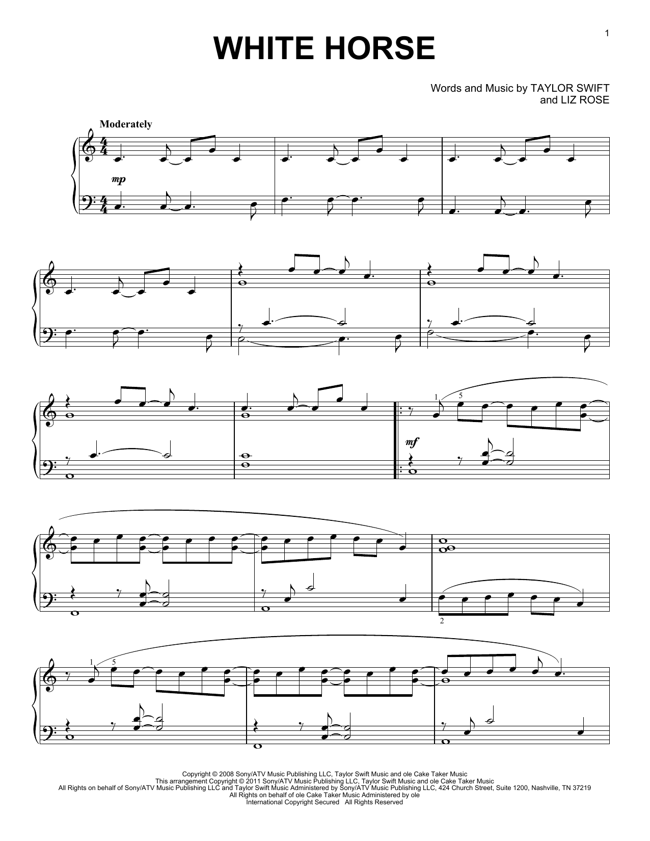 Taylor Swift White Horse Sheet Music Notes Chords Printable Pop