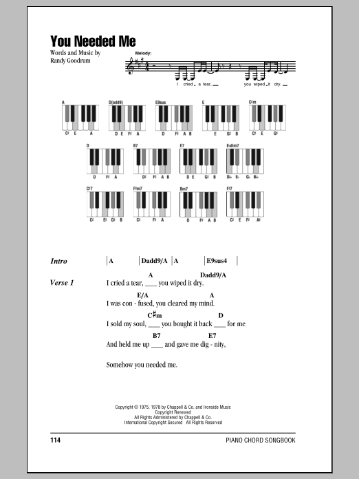Anne Murray You Needed Me Sheet Music Notes Chords Printable