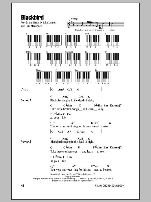The Beatles Blackbird Sheet Music Notes Chords Printable Rock