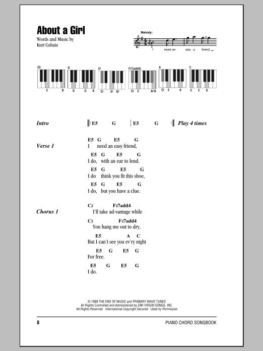 Nirvana 'About A Girl' Sheet Music Notes, Chords   Download Printable  Lyrics & Piano Chords - SKU: 87554