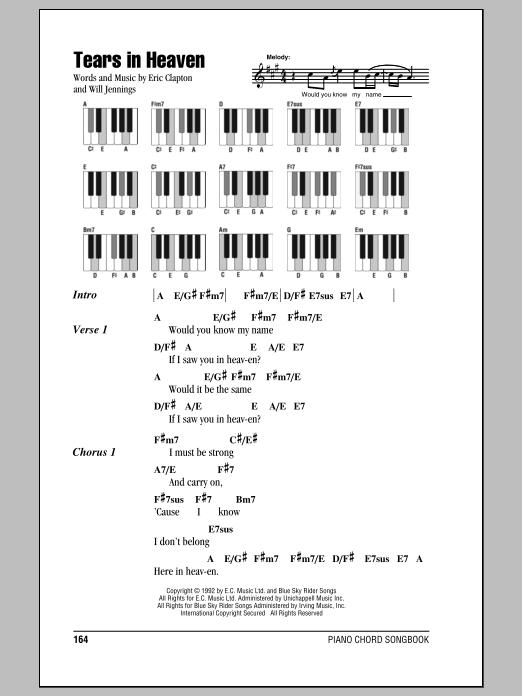 Tears in heaven free piano sheet music & piano chords.