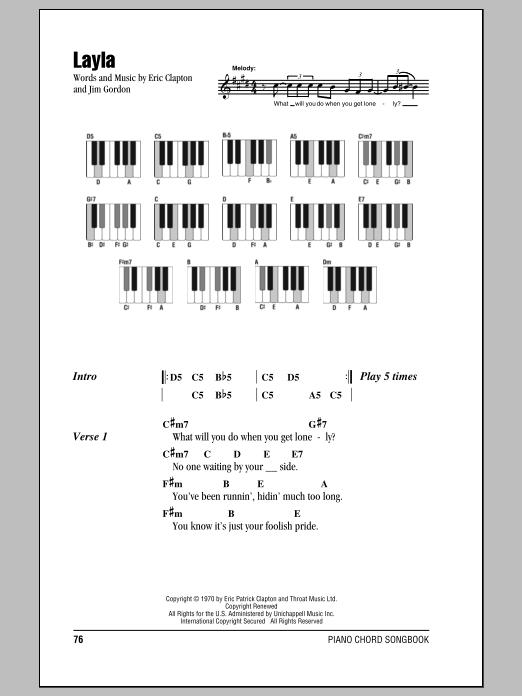 Eric Clapton Layla Sheet Music Notes Chords Printable Rock