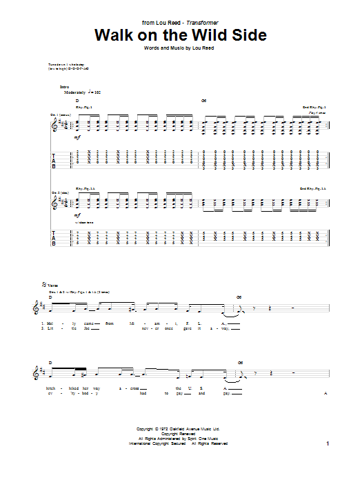 Lou Reed Walk On The Wild Side Sheet Music Notes Chords