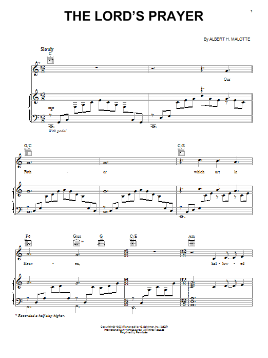 Jackie Evancho The Lords Prayer Sheet Music Notes Chords