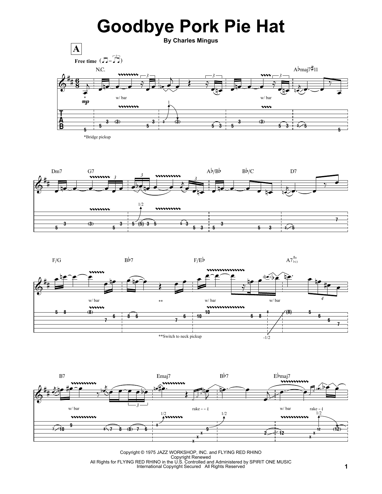 Jeff Beck Goodbye Pork Pie Hat Sheet Music Notes Chords