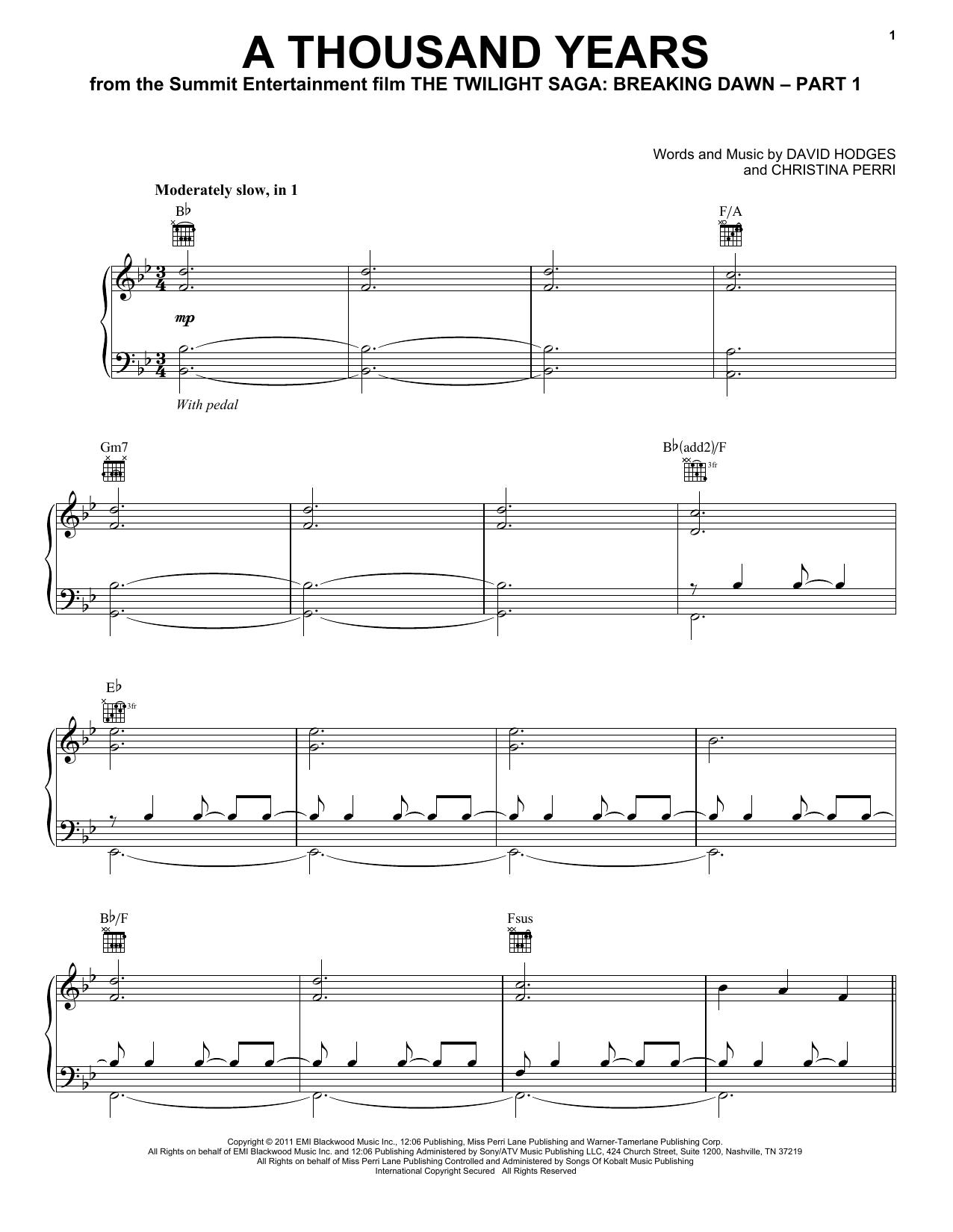Christina Perri A Thousand Years Sheet Music Notes Chords