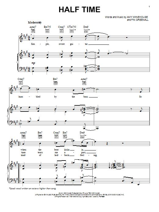 Amy Winehouse Half Time Sheet Music Notes Chords Printable Pop