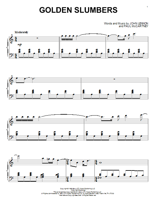 The Beatles Golden Slumbers Sheet Music Notes Chords Printable