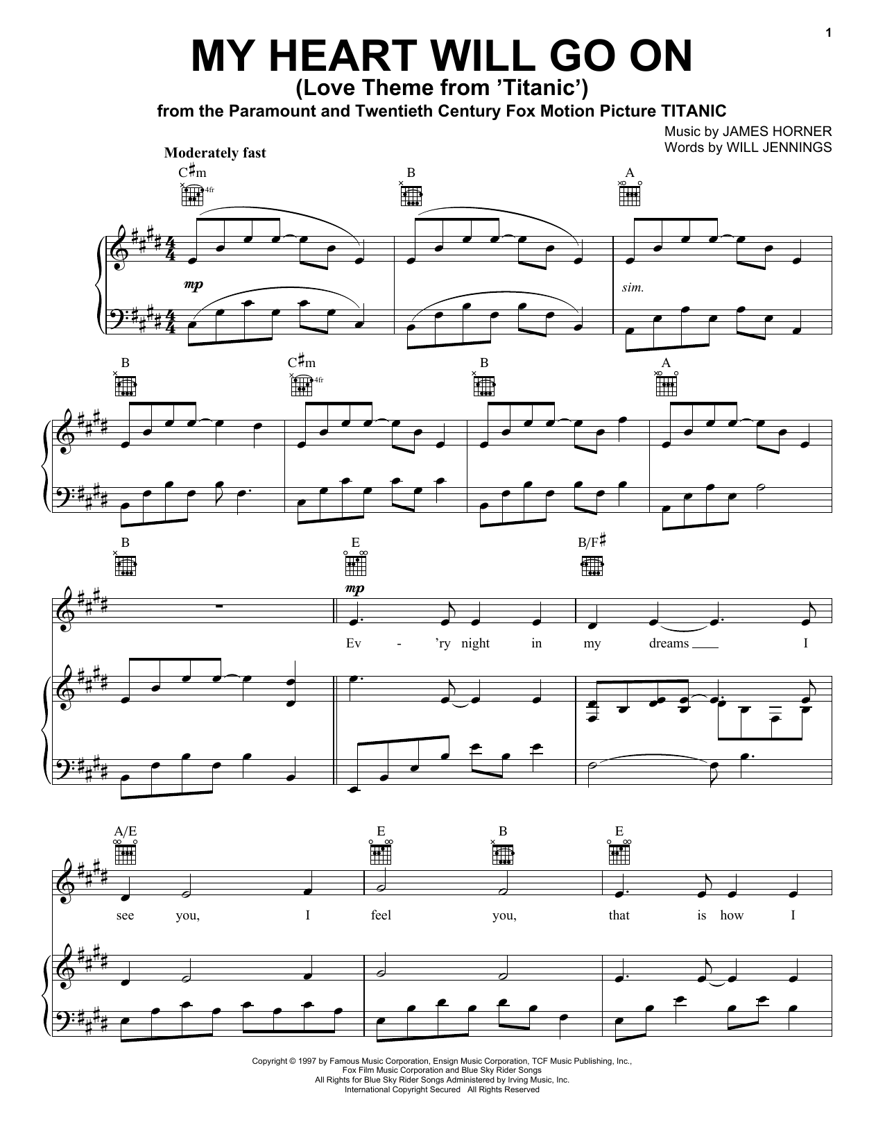Celine Dion My Heart Will Go On Love Theme From Titanic Sheet