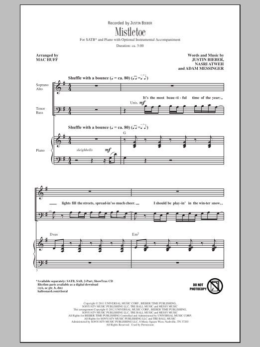 Justin Bieber Mistletoe Arr Mac Huff Sheet Music Notes Chords