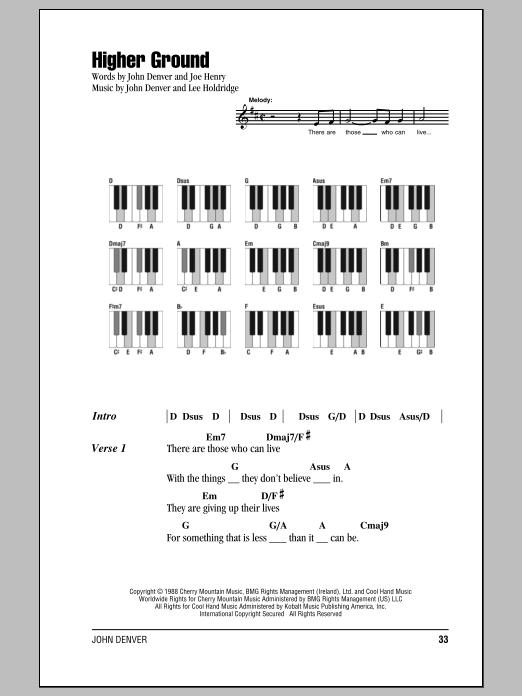 John Denver Higher Ground Sheet Music Notes Chords Printable