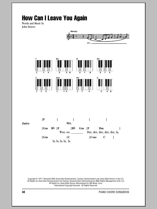 John Denver How Can I Leave You Again Sheet Music Notes Chords
