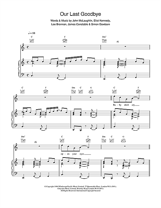 911 Our Last Goodbye sheet music notes and chords