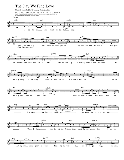911 The Day We Find Love sheet music notes and chords. Download Printable PDF.