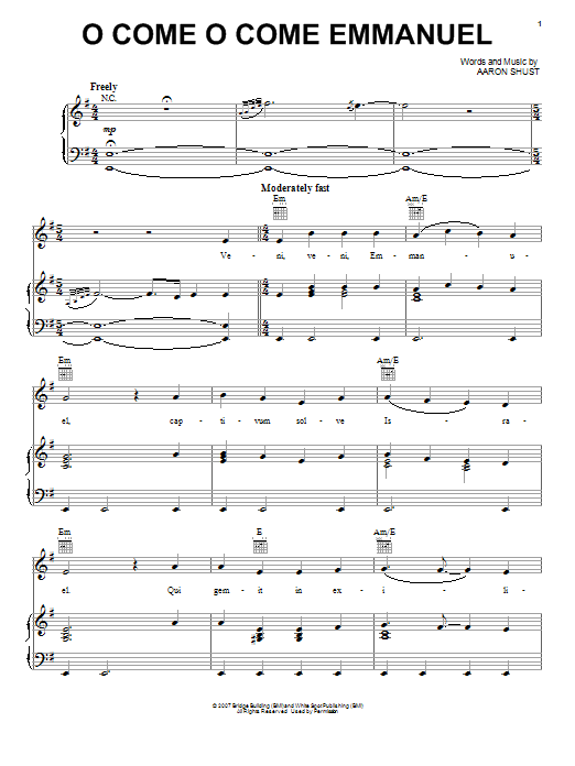 Aaron Shust O Come O Come Emmanuel Sheet Music Notes Chords