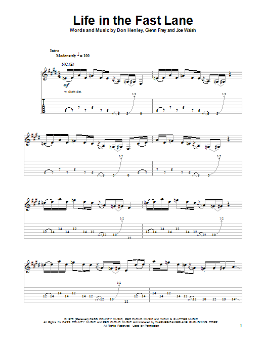 Eagles Life In The Fast Lane Sheet Music Notes Chords Printable