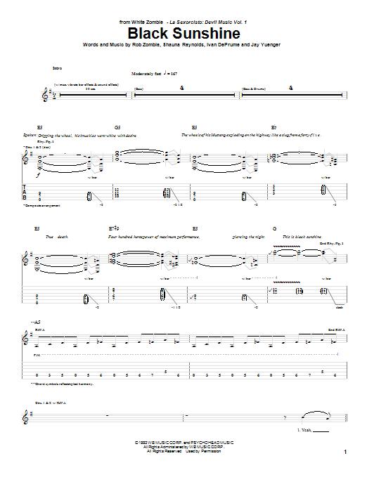White Zombie Black Sunshine Sheet Music Notes Chords Printable