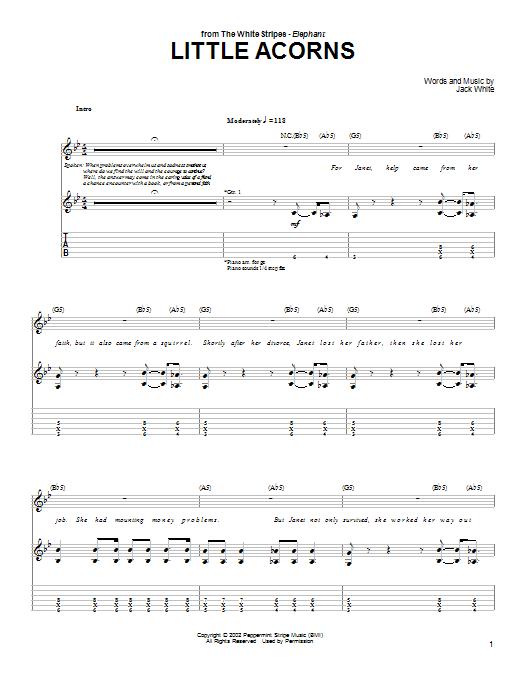The White Stripes Little Acorns Sheet Music Notes Chords