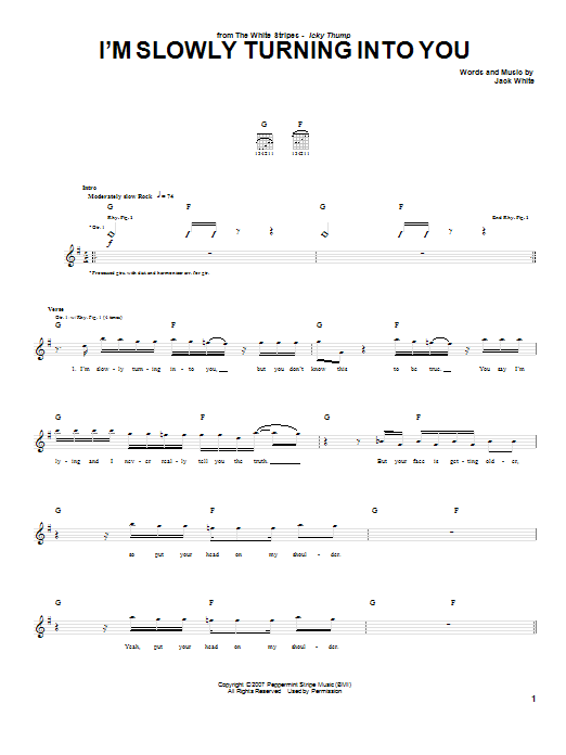 The White Stripes Im Slowly Turning Into You Sheet Music Notes