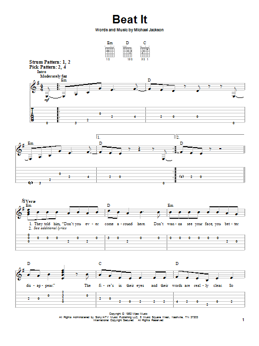 Michael Jackson Beat It Sheet Music Notes Chords Printable Pop