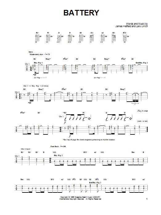 Metallica Battery Sheet Music Notes Chords Printable Pop
