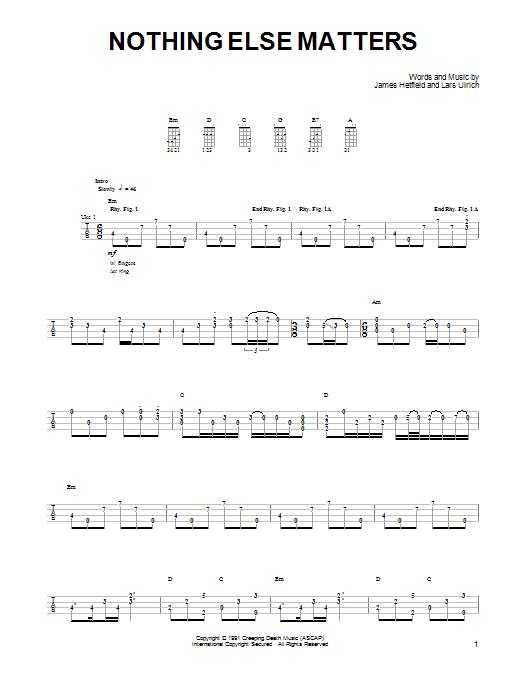 Metallica Nothing Else Matters Sheet Music Notes Chords