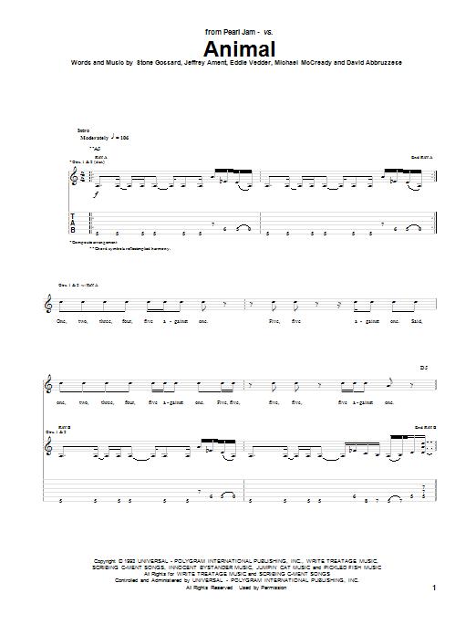 Pearl Jam Animal Sheet Music Notes Chords Printable Rock Guitar