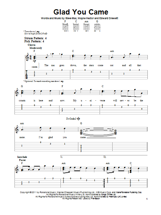 The Wanted Glad You Came Sheet Music Notes Chords Printable Pop