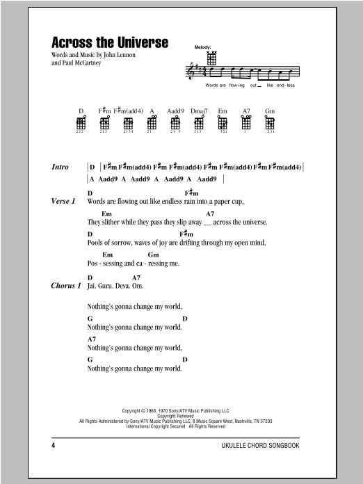 The Beatles Across The Universe Sheet Music Notes Chords
