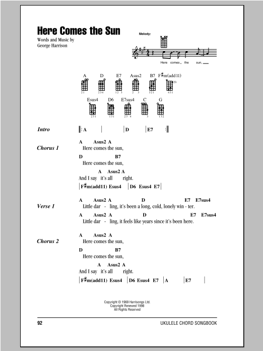 The Beatles Here Comes The Sun Sheet Music Notes Chords