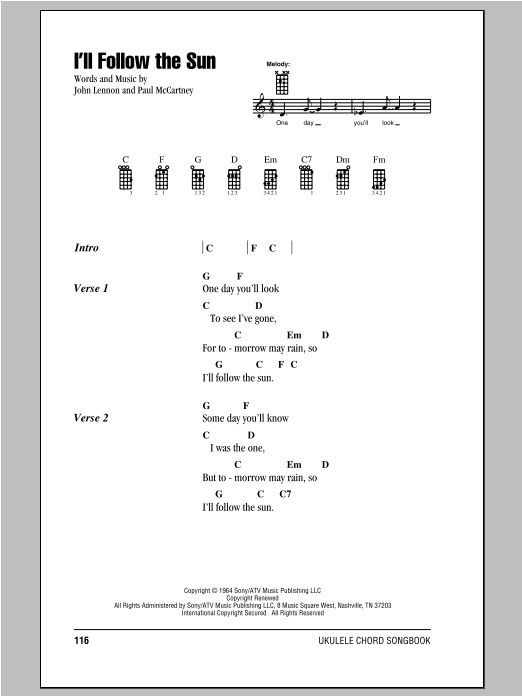 The Beatles Ill Follow The Sun Sheet Music Notes Chords