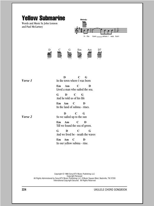 The Beatles Yellow Submarine Sheet Music Notes Chords Printable