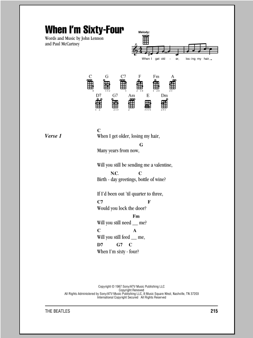 The Beatles When Im Sixty Four Sheet Music Notes Chords