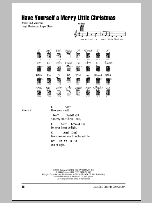 hugh martin have yourself a merry little christmas sheet music notes chords printable christmas ukulele with strumming patterns download pdf 92737 - Have Yourself A Merry Little Christmas Chords