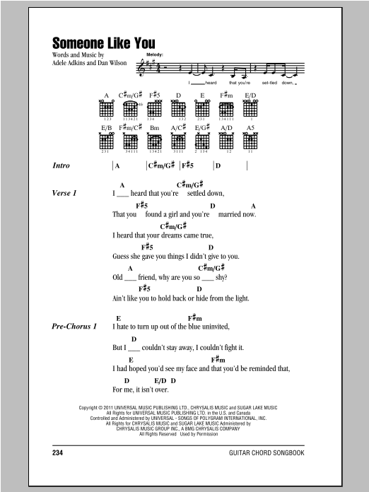 Adele Someone Like You Sheet Music Notes Chords Printable Rock