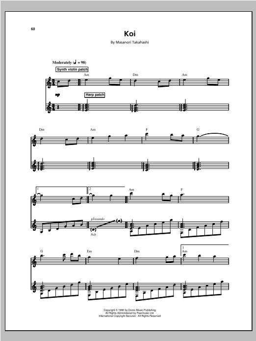 Kitaro Koi Sheet Music Notes Chords Printable New Age Piano