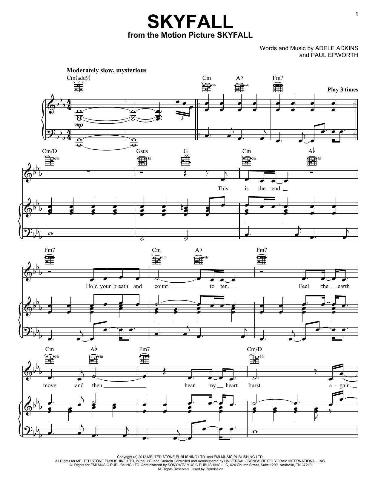 Adele Skyfall Sheet Music Notes Chords Printable Pop Piano