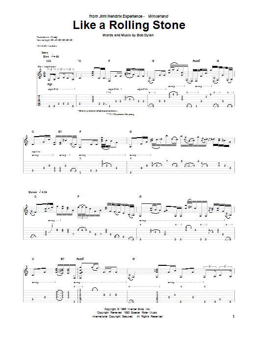Jimi Hendrix Like A Rolling Stone Sheet Music Notes Chords