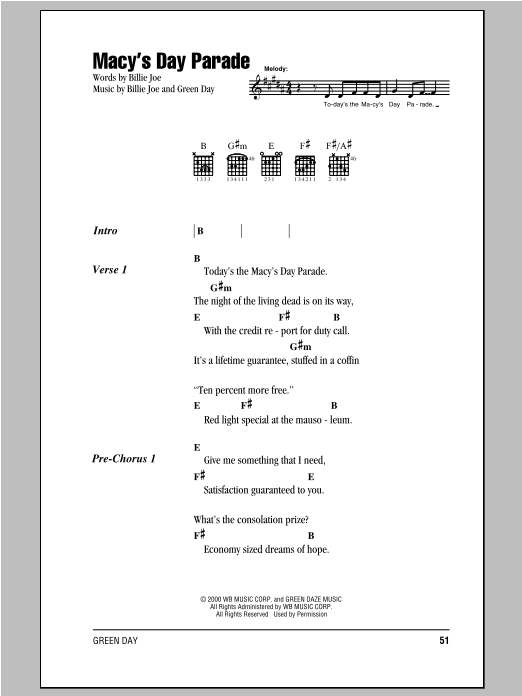 Green Day Macys Day Parade Sheet Music Notes Chords Printable