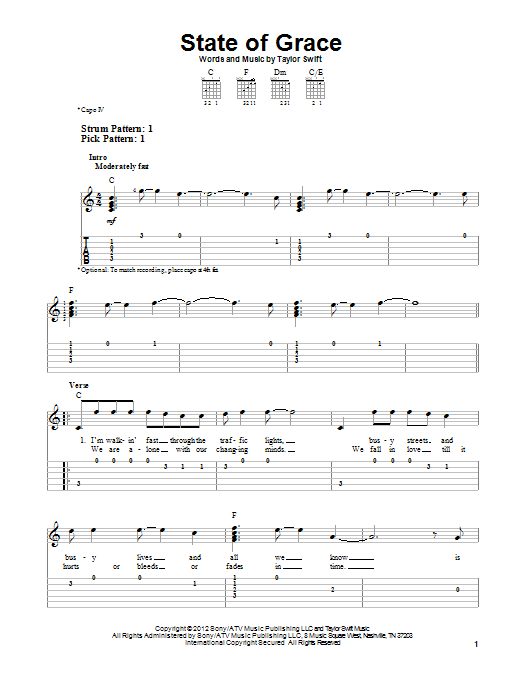 Taylor Swift State Of Grace Sheet Music Notes Chords Printable