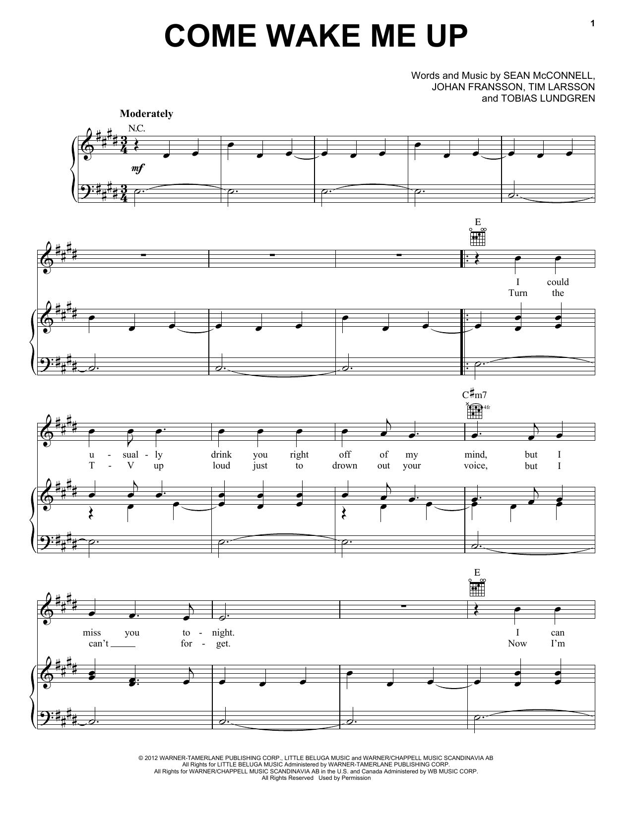 Rascal Flatts Come Wake Me Up Sheet Music Notes Chords