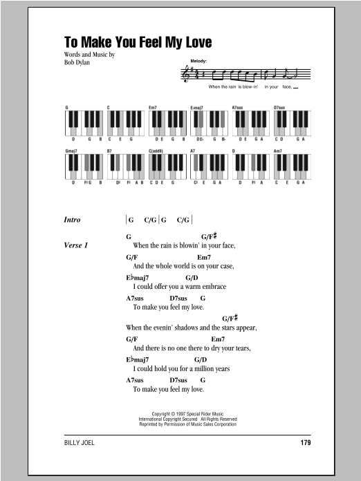 Billy Joel To Make You Feel My Love Sheet Music Notes Chords