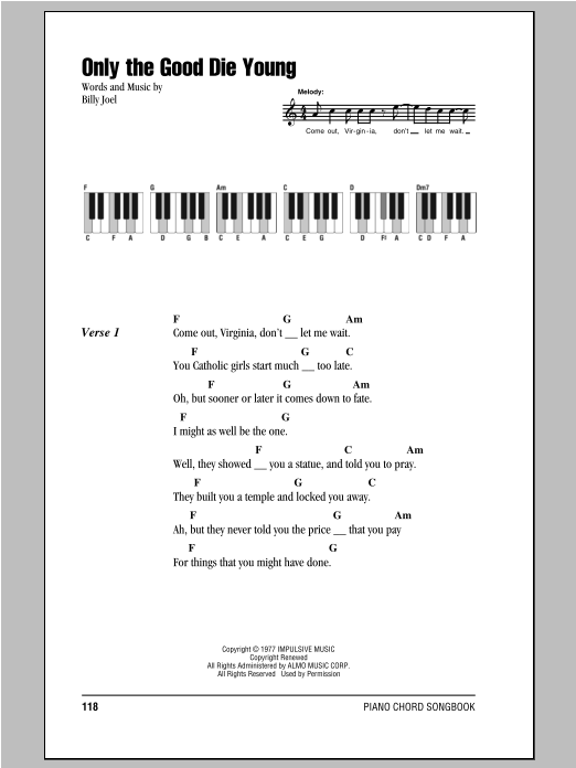 Billy Joel Only The Good Die Young Sheet Music Notes Chords