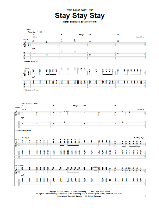 Taylor Swift Stay Stay Stay Sheet Music Notes Chords Printable