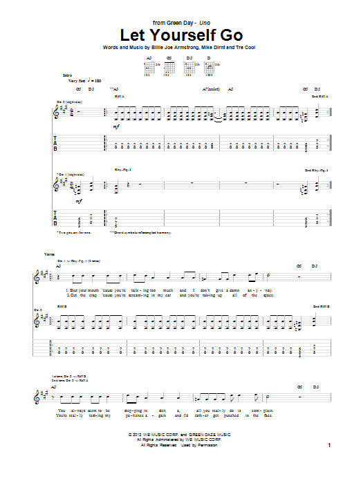 Green Day Let Yourself Go Sheet Music Notes Chords Printable