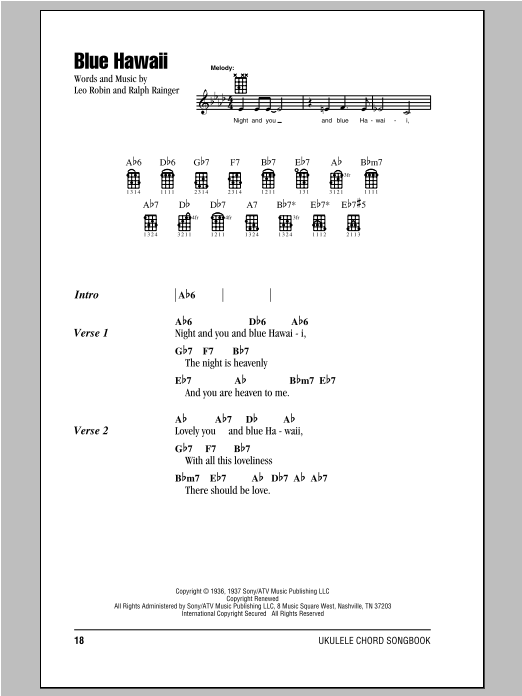 Elvis Presley Blue Hawaii Sheet Music Notes Chords Printable