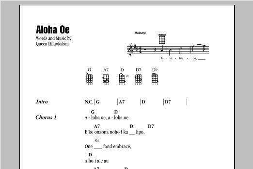 Queen Liliuokalani Aloha Oe Sheet Music Notes Chords Printable