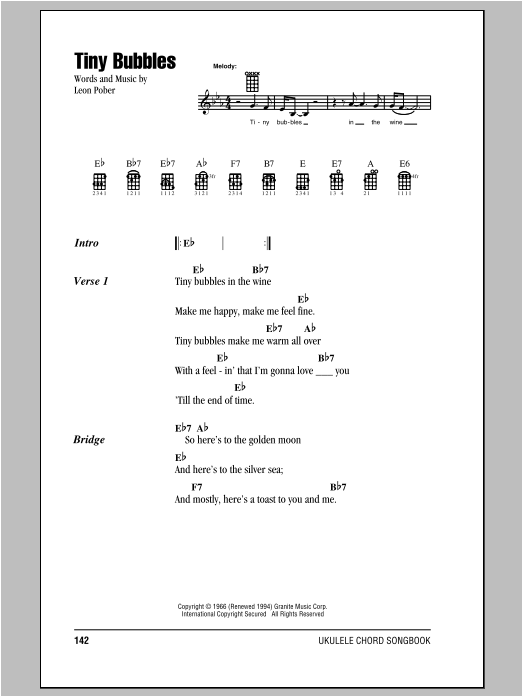 Don Ho Tiny Bubbles Sheet Music Notes Chords Printable Pop
